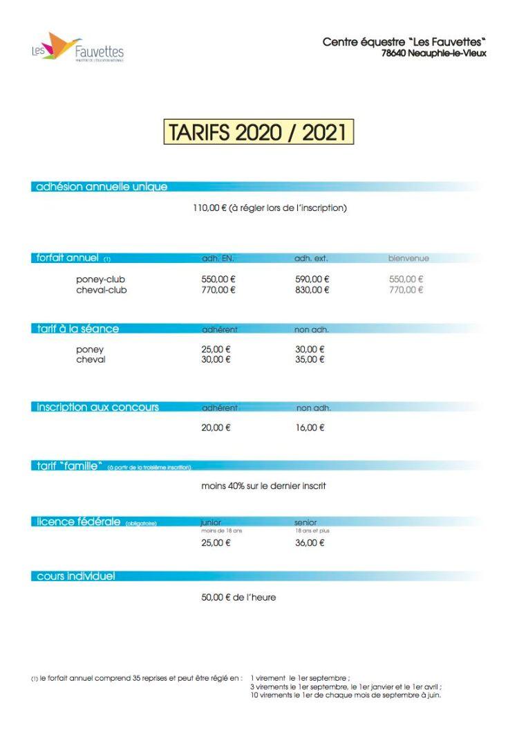 Tarifs 2020:21